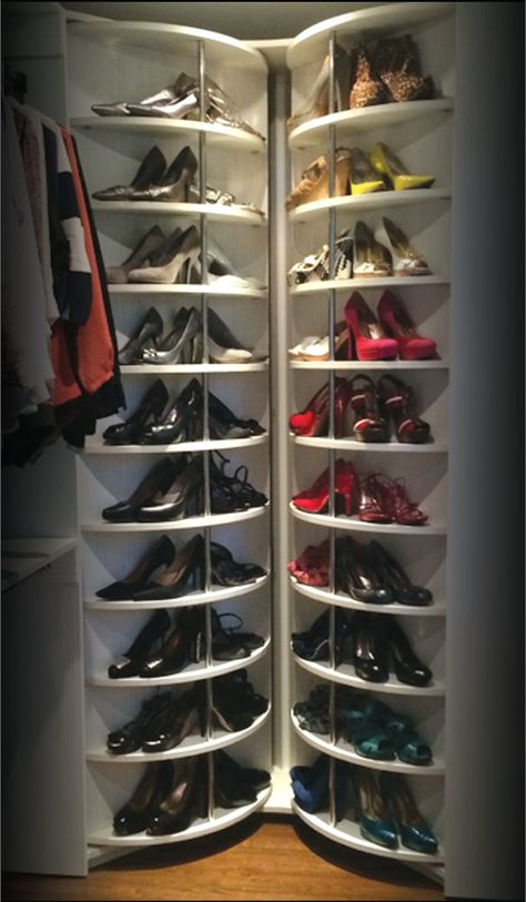 """Lazy Lee Closet Corner: This awesome invention called """"The Woman's Dream"""". This closet storage unit holds up to 230 pair of shoes and up to 700 LTR! it will not lose its balance and will ..."""