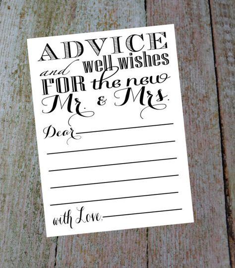 Floral Card Alternative Wedding Wedding Advice Cards Well Wishes Cards Advice Card for the Bride and Groom Advice Card Printable 6047