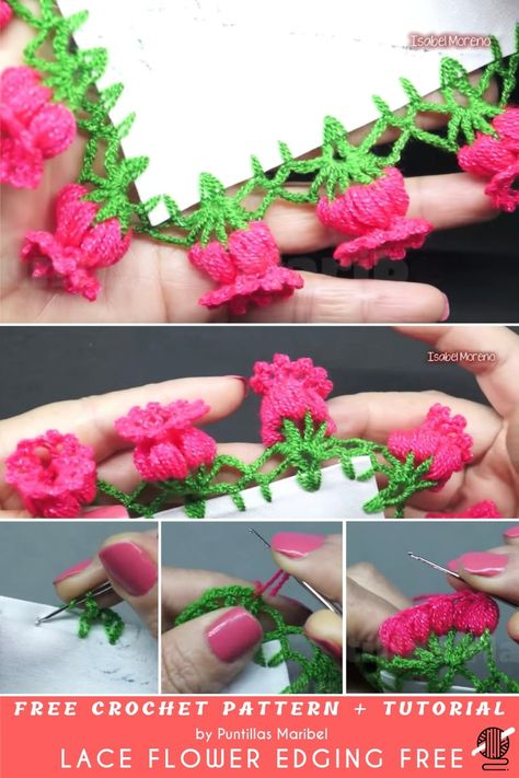 Today we have very pretty edging made of flowers to show you. The flowers look like fuchsia or other exotic flowers. In the video, we are making them pink but # how to crochet a flower for beginners Lace Flower Edging Free Crochet Pattern + Tutorial Crochet Edging Patterns, Crochet Lace Edging, Crochet Motifs, Crochet Borders, Flower Patterns, Crochet Stitches, Knitting Patterns, Cross Stitches, Crochet Baby
