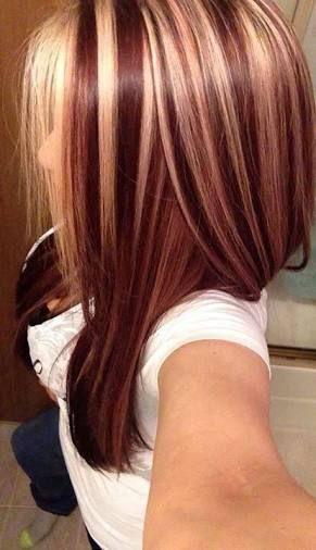 Resultado De Imagen Para Burgundy Hair With Blonde Highlights