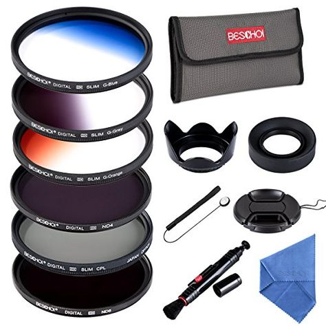 Collapsible Rubber Lens Hood Tulip Lens Hood Bundle for Camera Lens with 52MM Filter Thread ND2 + ND4 + ND8 Beschoi 52mm UV CPL Filters Graduated Grey Color Filter Neutral Density ND Filter Kit