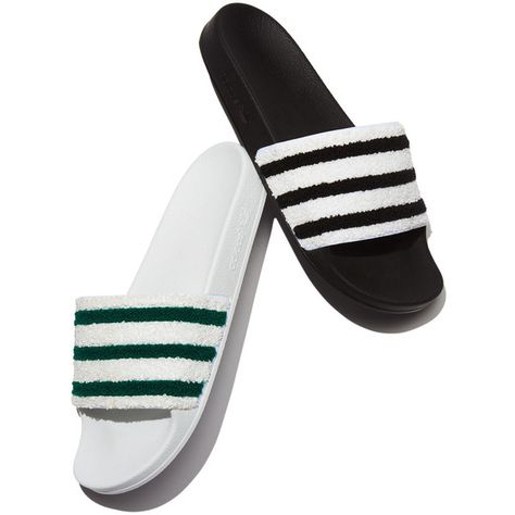 Adidas Adilette Striped Slide Sandal, WhiteGreen (450 MAD