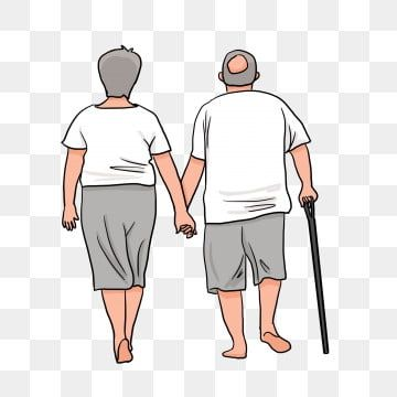 Back View Of The Elderly In Chongyang Festival Old Man Holding Hands Old Man Walking On Crutches Old Couple Walking Back View Old Man Clipart Festival Crutch Old Man Walking Old