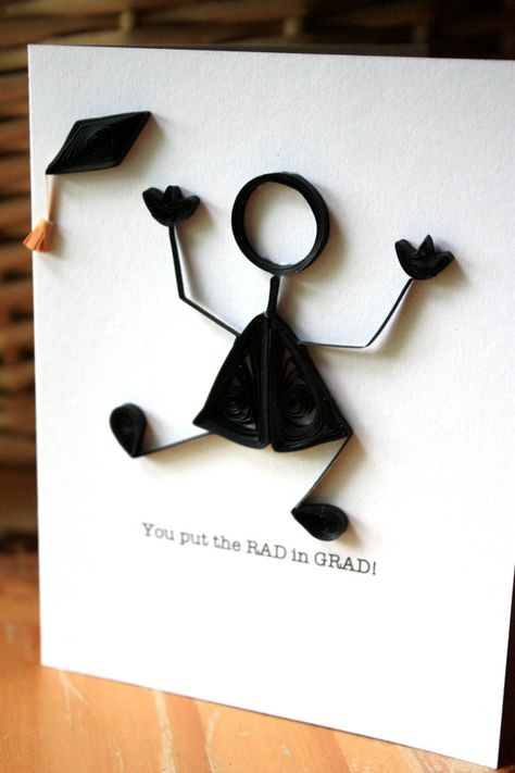 Quilled Graduation Card  Stick Figure  Unique by SweetSpotCardShop, $7.00