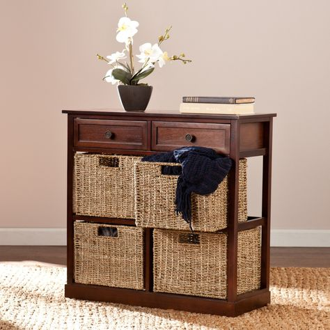 Southern Enterprises Kenton Console Table With 4 Baskets With