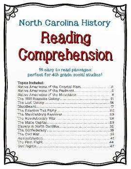 North Carolina History Reading Comprehension Bundle | TPT
