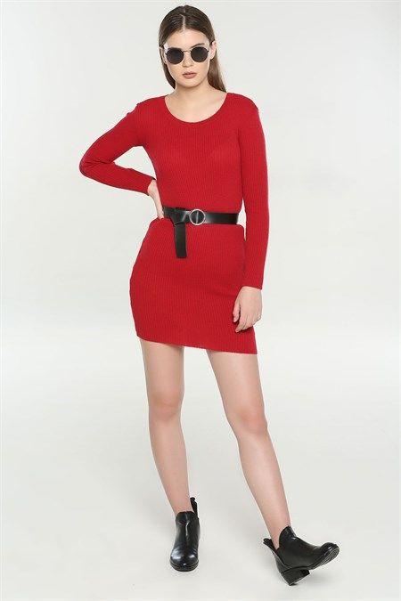Siyah Bayan Kemer 2020 Moda Stilleri Triko Elbise