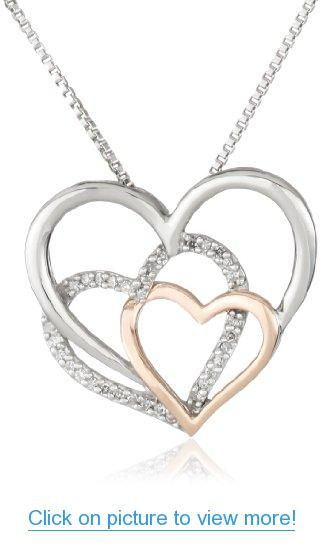 XPY Sterling Silver, 14k Rose Gold, and Diamond Triple Heart Pendant Necklace, 18
