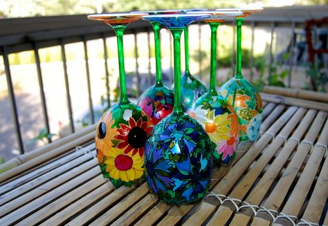 Hand Painted Wine Glass Set: Meadow