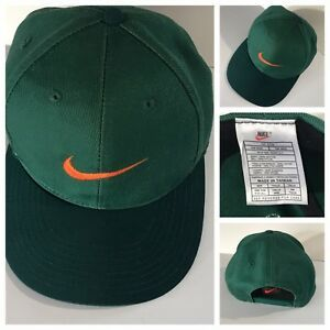 3a4add946 Vintage 90s Nike Swoosh Logo 6 Panel Green Orange Miami Snapback Hat ...
