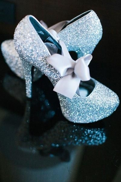 98460db58c2f Sparkly Cinderella Blue glitter heels! Light Blue Satin Ribbon ties into a  bow across each