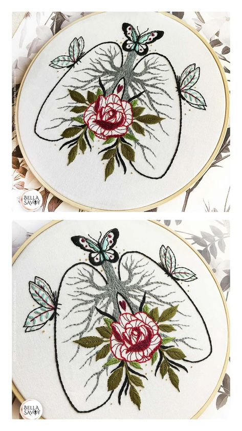 Read the full title Lungs Embroidery Pattern PDF | Lungs & Rose Embroidery pdf Pattern | Anatomy Embroidery | Modern Embroidery | Lungs and Butterfly Embroidery