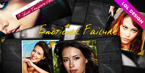 Emotional Failuremotional Failure. After Effects Full HD package coming with two different project files (templates: short version: 27 seconds, 18 media, 1 logo and 12 texts placeholders. Long version: 1 minute 40 seconds, 40 media, 25 texts and 1 logo placeholders). These templates include global controls (with one click) allowing you to customize easily and quickly the whole template file. These universalized controls allow you to: ...