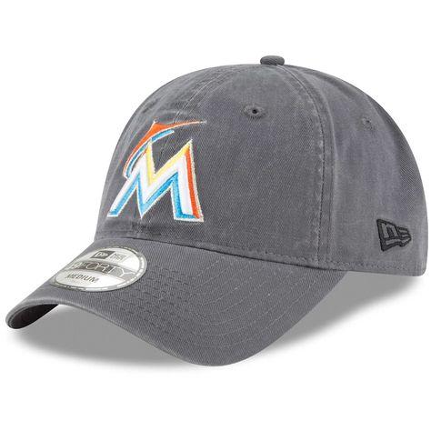 954947a754e Men s Miami Marlins New Era Graphite Core 49FORTY Fitted Hat