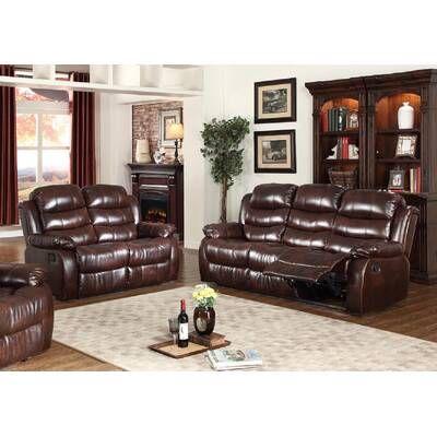 Roderick Reclining Configurable Living Room Set Sofa Loveseat Set Living Room Sets Leather Living Room Set