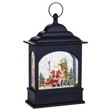 RAZ Imports Witch Lighted Water Lantern 11 Halloween Snow Globe with Swirling Glitter