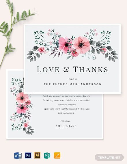 Bridal Shower Thank You Card Template Word Doc Psd Apple Mac Pages Illustrator Publisher Bridal Shower Cards Thank You Card Template Wedding Thank You Cards