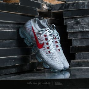 new york 50% price fashion style Nike Air Vapormax Flyknit Pure Platinum/ University Red Pour le ...