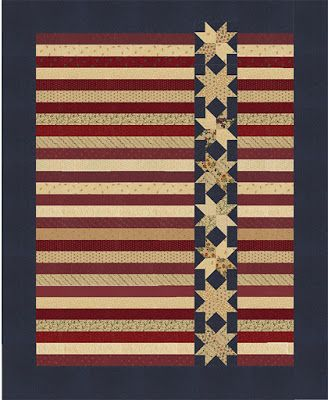 Kansas Troubles Quilters Stars On A Roll In Red Tan And Blue Patriotic Quilts Lap Quilts Blue Quilts