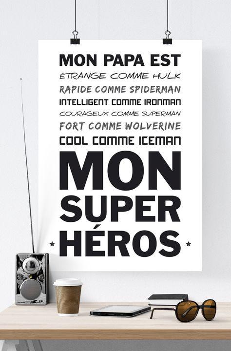 Image numérique, texte super héros papa, fichier à télécharger