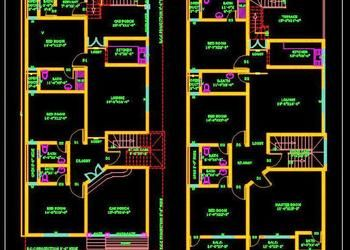 Duplex House 30 X60 Autocad House Plan Drawing Free Download Duplex House House Layout Plans Duplex Floor Plans