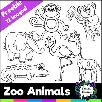 Free Zoo Animals Mini Bundle 12 Images For Personal And Commercial Use Animals Black And White Zoo Animals Animal Clipart