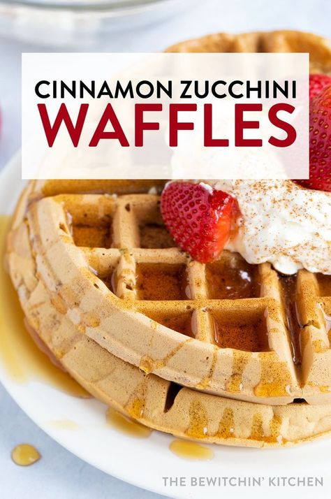 Cinnamon zucchini waffles recipe - these hearty waffles are filled with hidden zucchini, vanilla, cinnamon, and are a delicious breakfast or brunch recipe. Serve with real whipped cream and strawberries or maple syrup. #thebewitchinkitchen #waffles #wafflerecipes #cinnamonwaffles #cinnamonzucchiniwaffles #vegetablewaffles