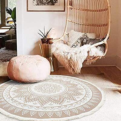 Amazon Com Boho Rug For Bedroom Round Mandala Rug For Living Room Cute Bohemian Circle Meditation Rug Round Cott In 2020 Bedroom Rug Rugs In Living Room Dining Rug