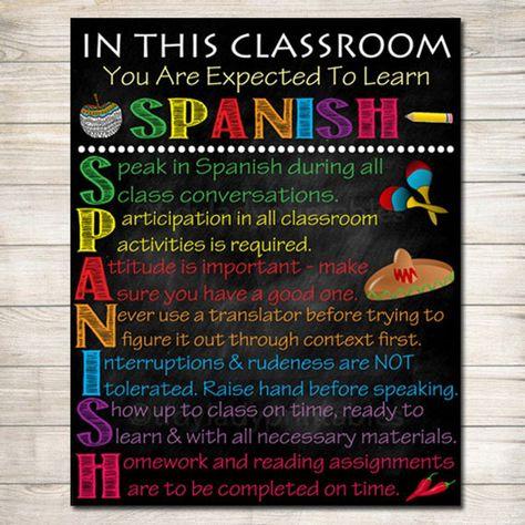 Spanish Classroom Rules Printable Poster, Spanish Class Decor, Clase de Español Reglas, High School Spanish Teacher, Spanish Classroom Sign