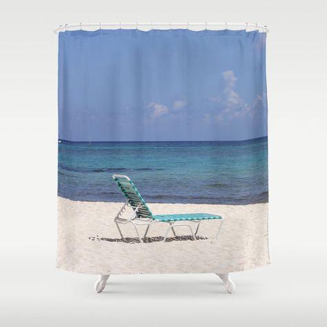 Beach Chair Shower Curtain Blue Sand Ocean Bath By B2Bdesigns