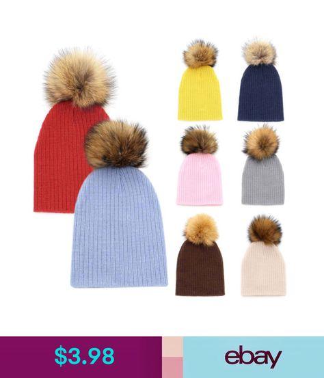 c05c38122 $3.98 - Kids Baby Boy Girl Real Fur Pom Hat Winter Warm Crochet Knit ...