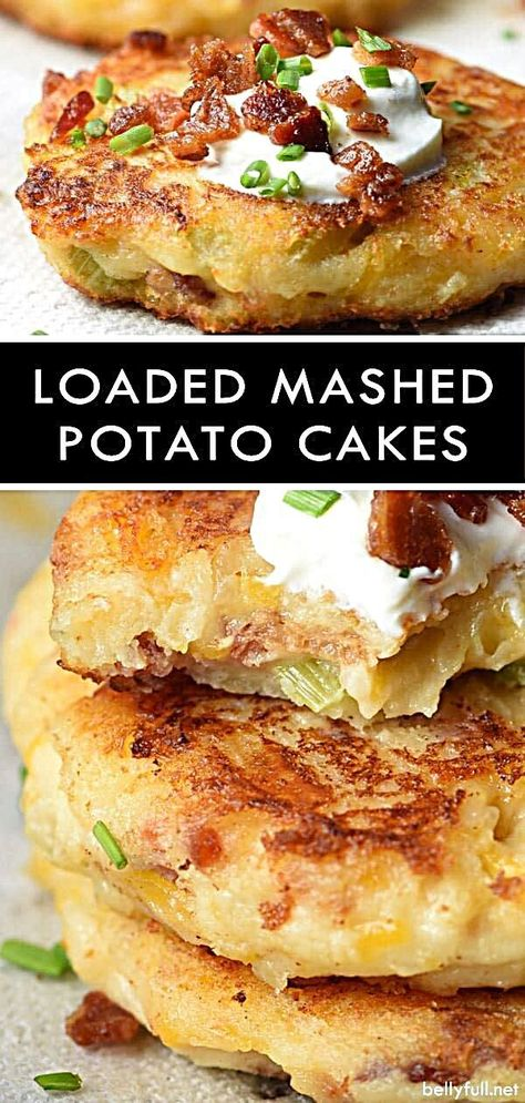 These Loaded Mashed Potato Cakes are your favorite twice baked potato in patty form, and the best use of leftover mashed potatoes! potato al horno asadas fritas recetas diet diet plan diet recipes recipes Loaded Mashed Potatoes, Leftover Mashed Potatoes, Mashed Potato Recipes, Twice Baked Potatoes, Potato Dishes, Food Dishes, Potatoe Cakes Recipe, Food Food, Mashed Potato Patties
