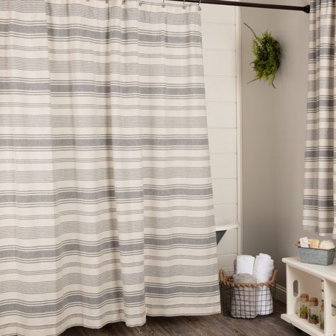 Farm Market Shower Curtain Bathroom Farmhouse Style Gray Shower