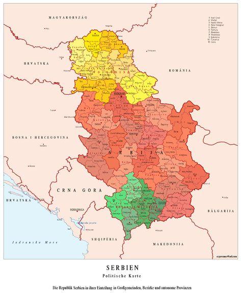 Politicka Karta Srbije U Visokoj Rezoluciji Tt Group Country