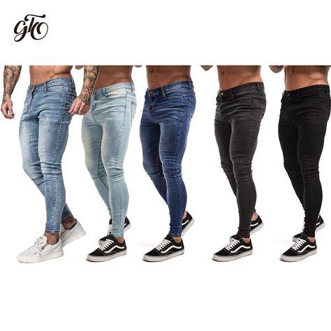 e44dee15b5cb Cheap skinny jeans men black, Buy Quality jeans men black directly from  China skinny jeans men Suppliers: Gingtto Mens Skinny Jeans Black  Distressed Denim ...