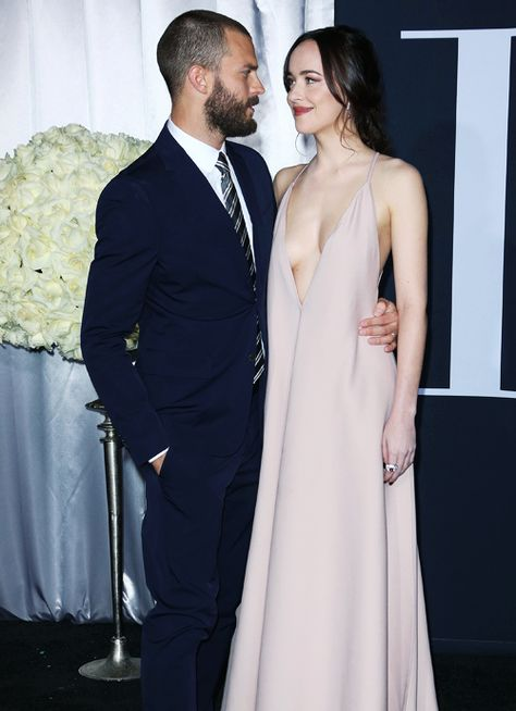 Jamie Dornan And Dakota Johnson On The Red Carpet Of Fifty Shades