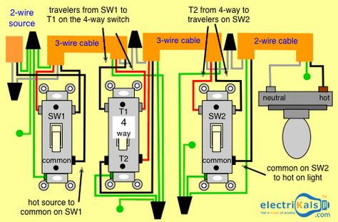 In This Basic 4 Way Light Circuit And Switch Wiring