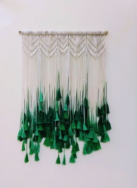 Perfect bohemian chic décor for your home. Large Hand Crafted Macrame Wall Hanging/Head Board. This beautiful piece is guaranteed to bring a sense of style and panache to your home. It is a gorgeous piece with hand dyed tassels in varying shades of Emerald green. Every piece is made with pure cotton