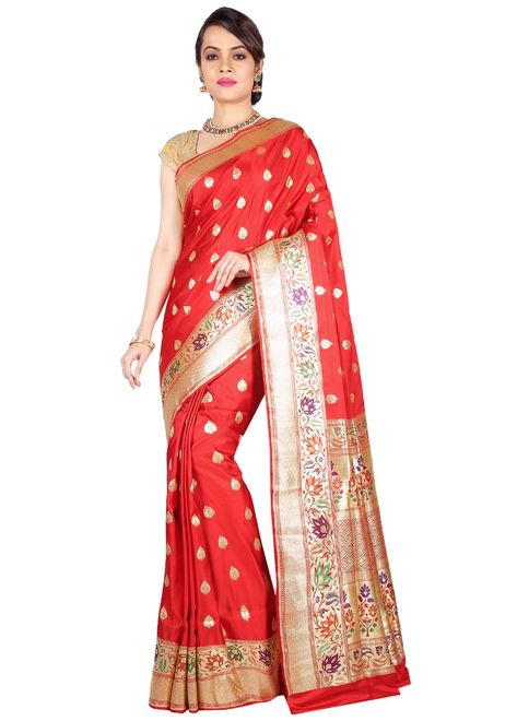 c56552f128 Grand red pure banarasi silk saree embellished with zari woven foliage  motifs all over, which is beautifully showcased with resham weaved paithani  style ...
