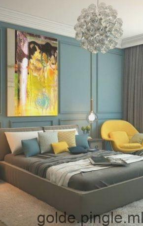 Chambre Bleu Canard Avec Des Accents Fauteuil Jaune Tapis Et Lit Gris Coussins G Chambre Bleu Meuble Chambre A Coucher Design Eclectique