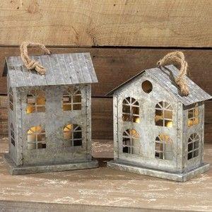 Large Galvanized Houses Set Of 2 Christmas Village Houses Tin House Rustic Farmhouse Decor