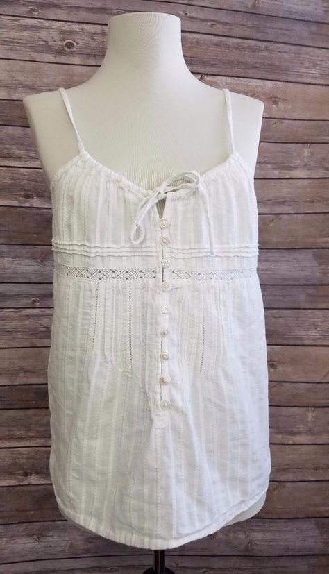 b29a8031a6 Old Navy Camisole White Cotton Lace Peasant Boho Tank Top Womens M #OldNavy  #TankCami #Casual