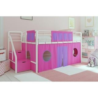 Dhp Loft Bed With Storage Steps And Curtain Set Kids Loft Beds