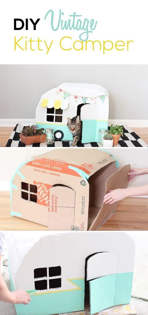 Cats Toys Ideas - Your cat will LOVE this fun hiding place made out of cardboard, panit, and tape. Not only will your cat like it, but you will too since it looks way better than a standard cardboard box. - Ideal toys for small cats Diy Cat Bed, Cat House Diy, Cat Beds, Diy Cat Hammock, Pet Beds Diy, Baby Hammock, Diy Cat Toys, Diy Bunny Toys, Homemade Cat Toys