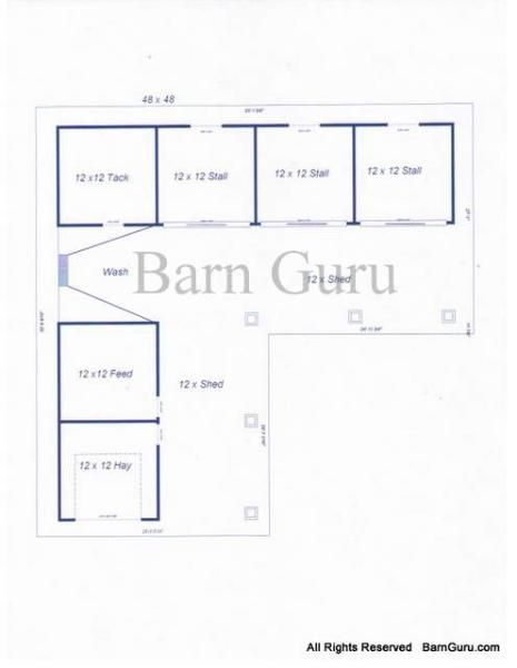 3 Stall Horse Barn Plans Outdoor With Feed Tack Wash And Hay Storage