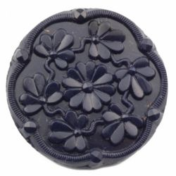 Czech vintage glass button 27mm dark navy blue faceted flower glass button