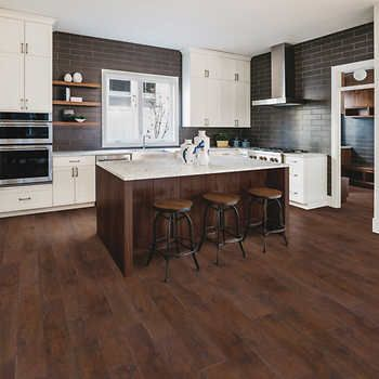 Mohawk Home Rustic Spiced Oak 10mm Thick Laminate Flooring With Splashdefense Technology 2mm Pad Attached In 2020 Bamboo Flooring Contemporary Walnut Kitchen Custom Kitchen Cabinets