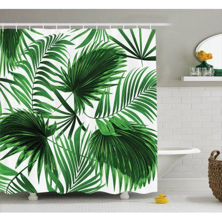 Home Green Shower Curtains Palm Tree Bathroom Bathroom Decor Sets