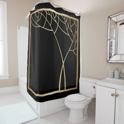 Art Deco Style Faux Gold Tree With Frame On Black Shower Curtain Simple Clear Clean Design Style Unique Diy Black Shower Curtains Art Deco Art Deco Fashion