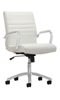 Realspace Modern Comfort Series Winsley Bonded Leather Mid Back Chair White By Office Depot White Leather Office Chair White Office Chair Office Chair Design